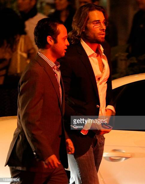 Sebastian Rulli El guero Castro Sherlyn Jorge Poza among others out of a restaurant dinner of Mexico City on november 04 2011 in Mexico City Mexico