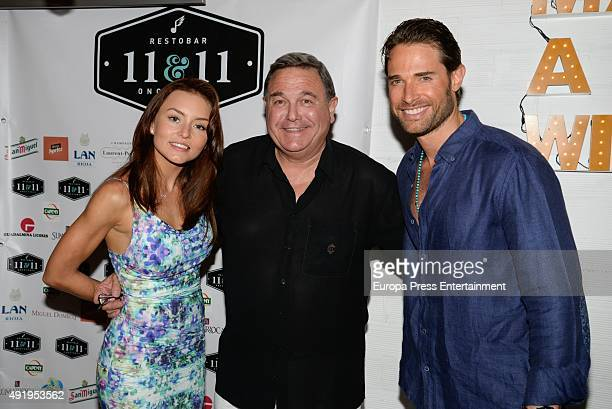 Sebastian Rulli his father Oscar Rulli and Angelique Boyer attend the 1st anniversary of his restaurant '1111 Restobar' on September 11 2015 in...
