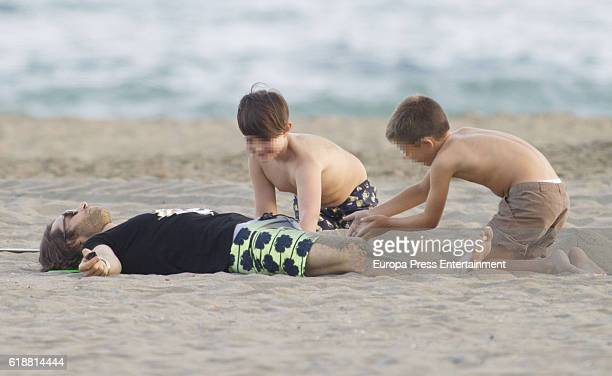 Part of this image has been pixellated to obscure the identity of the child Sebastian Rulli is seen on October 5 2016 in Marbella Spain