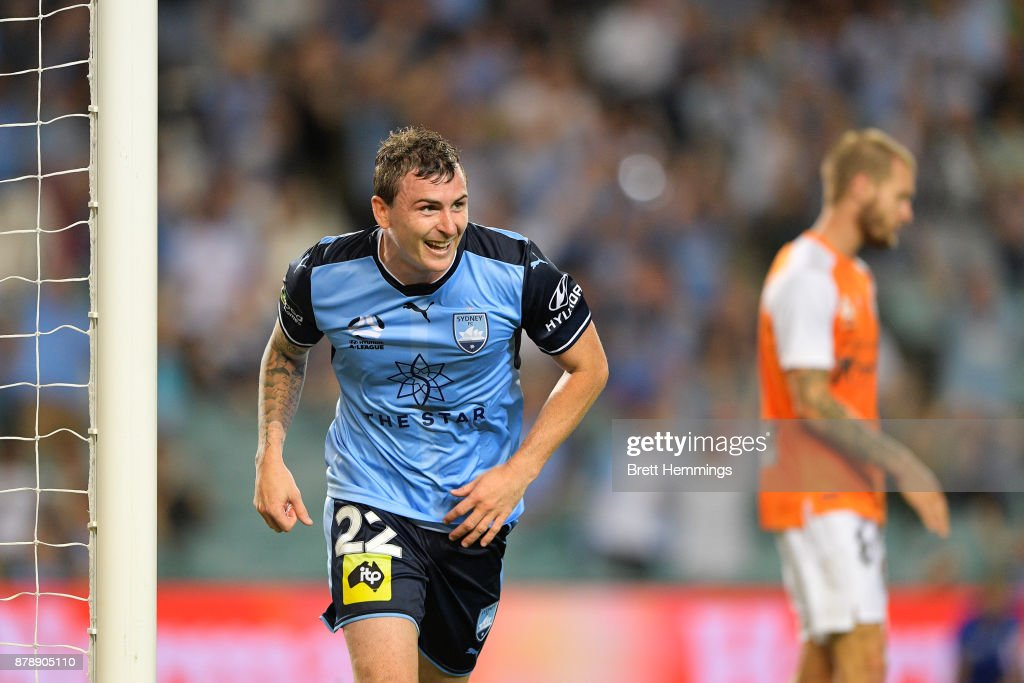 Sebastian Ryall of Sydney celebrates scoring a goal during the round eight A-League match between Sydney FC and the Brisbane Roar at Allianz Stadium on November 25, 2017 in Sydney, Australia.