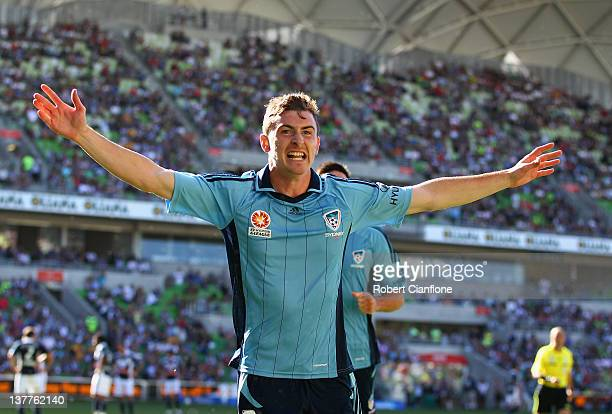 Sebastian Ryall of Sydney FC celebrates his goal during the round 17 A-League match between the Melbourne Victory and Sydney FC at AAMI Park on...