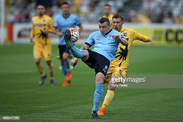 Sebastian Ryall of Sydney FC clears the ball during the round four A-League match between the Central Coast Mariners and Sydney FC at Central Coast...
