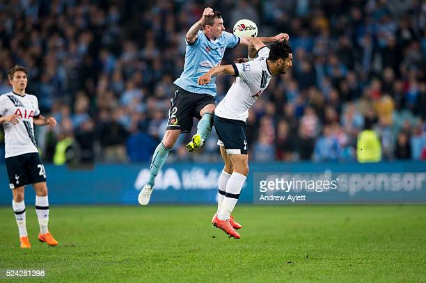 Sebastian Ryall of Sydney FC heads the ball during the friendly match between Sydney FC and the Tottenham Hotspur at ANZ stadium in Sydney NSW...