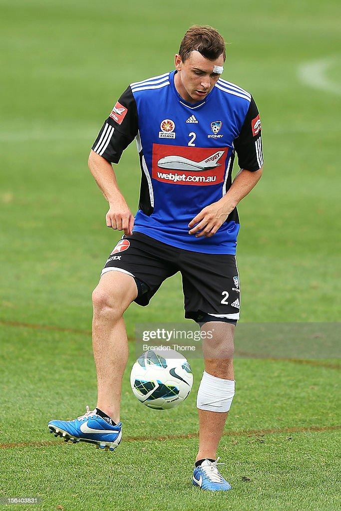 Sebastian Ryall of Sydney kicks during a Sydney FC A-League training session at Macquarie Uni on November 15, 2012 in Sydney, Australia.