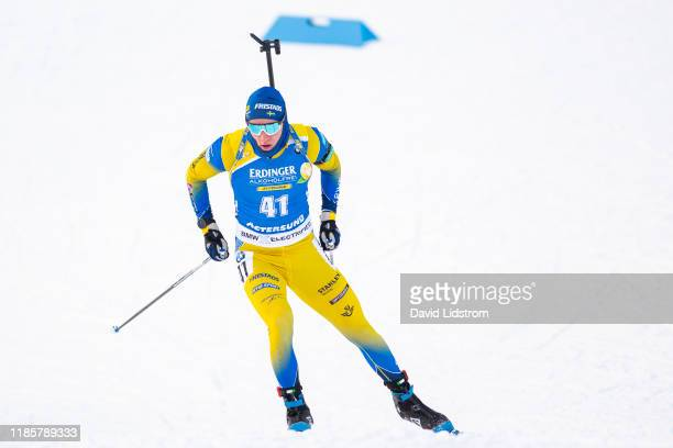 Sebastian Samuelsson of Sweden competes during the Mens 10 km Sprint Competition at the BMW IBU World Cup Biathlon Oestersund at Swedish National...