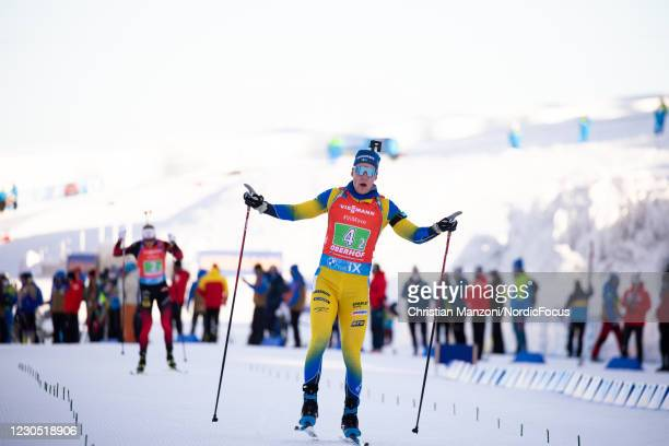 Sebastian Samuelsson of Sweden competes during the Single Mixed Relay at the BMW IBU World Cup Biathlon Oberhof on January 10, 2021 in Oberhof,...