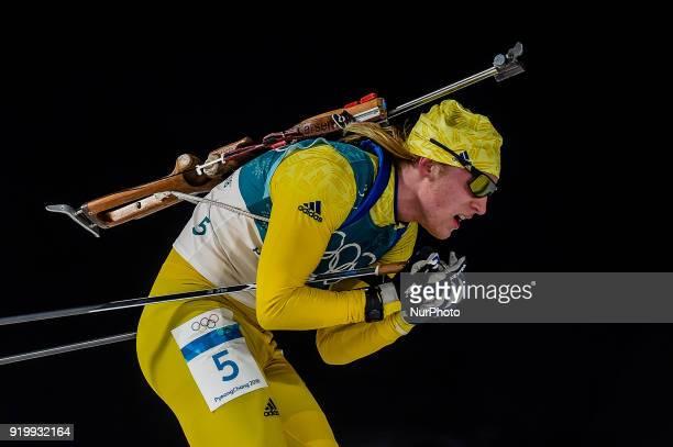 Sebastian Samuelsson of Sweden competing in 15 km mass start biathlon at Alpensia Biathlon Centre Pyeongchang South Korea on February 18 2018
