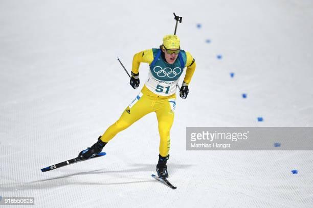 Sebastian Samuelsson of Sweden finishes during the Men's 20km Individual Biathlon at Alpensia Biathlon Centre on February 15 2018 in Pyeongchanggun...
