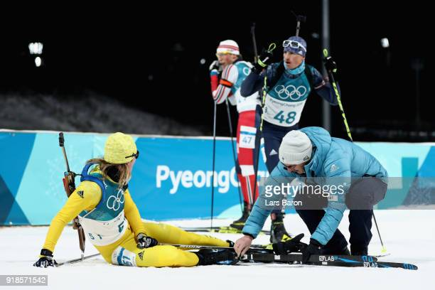 Sebastian Samuelsson of Sweden reacts at the finish during the Men's 20km Individual Biathlon at Alpensia Biathlon Centre on February 15 2018 in...