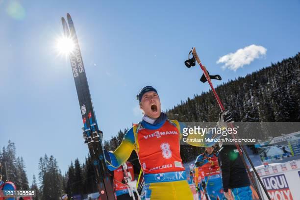 Sebastian Samuelsson of Sweden screems out his joy after the Men 12.5 km Pursuit Competition at the IBU World Championships Biathlon Pokljuka on...