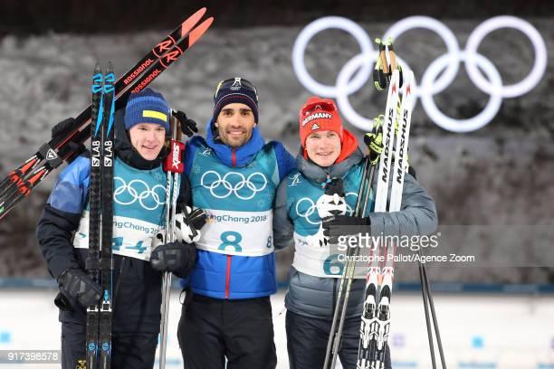 Sebastian Samuelsson of Sweden wins the bronze medal Martin Fourcade of France wins the gold medal Benedikt Doll of Germany wins the bronze medal...
