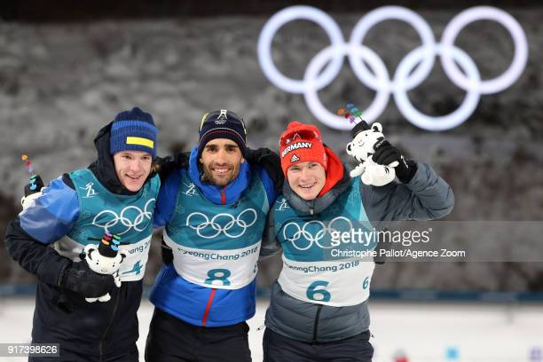 Sebastian Samuelsson of Sweden wins the bronze medal Martin Fourcade of France wins the gold medal Benedikt Doll of Germany wins the bronze medal...