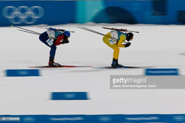 Sebastian Samuelsson of Sweden wins the silver medal Martin Fourcade of France wins the gold medal during the Biathlon Men's and Women's Pursuit at...