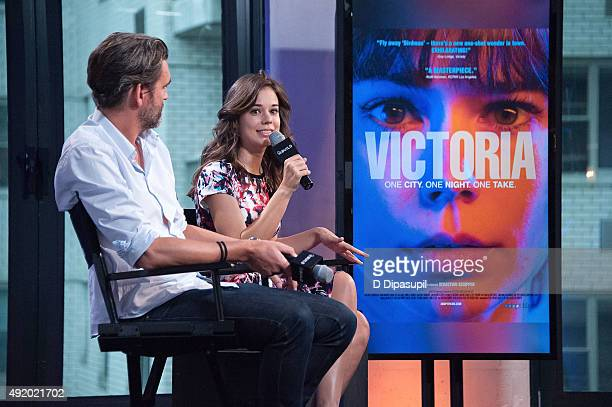 """Sebastian Schipper and Laia Costa attend AOL Build Presents: """"Victoria"""" at AOL Studios In New York on October 9, 2015 in New York City."""