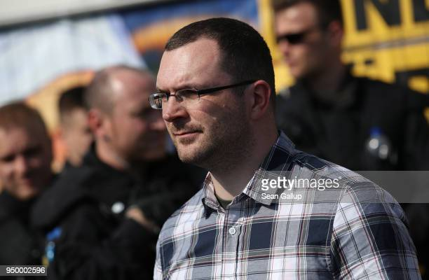 Sebastian Schmidtke of the farright NPD political party attends a neoNazi music fest on April 21 2018 in Ostritz Germany By early afternoon...