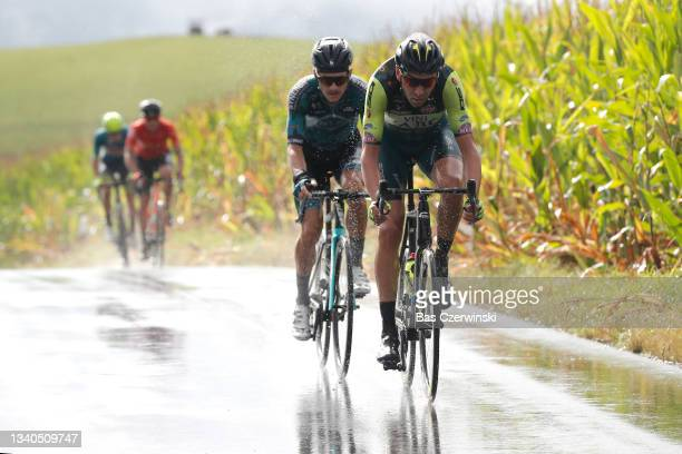 Sebastian Schönberger of Austria and Team B&B Hotels P/B KTM and Kamil Gradek of Poland and Team Vini Zabu' Brado KTM compete in the Breakaway during...