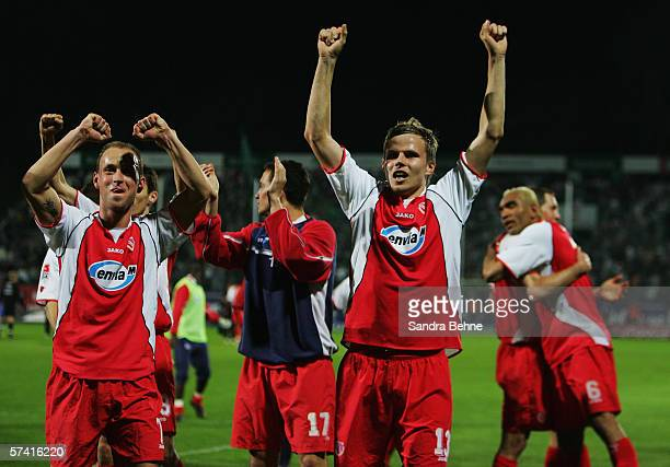 Sebastian Schuppan celebrates after the Second Bundesliga match between Spvgg Greuther Furth and Energie Cottbus at the Playmobil Stadium on April 24...