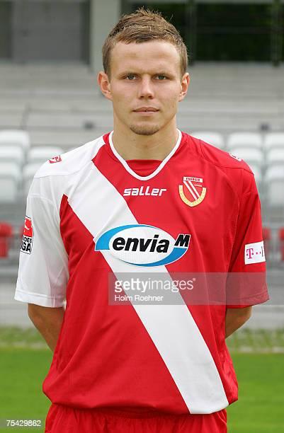 Sebastian Schuppan poses during the Bundesliga 2nd Team Presentation of FC Energie Cottbus on July 13 2007 in Jena Germany