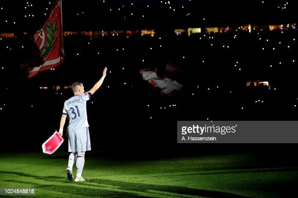 Sebastian Schweinsteiger of Chicago on his way to the pitch before the Friendly Match between FC Bayern Muenchen and Chicago Fire at Allianz Arena on...