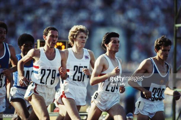 Sebastian Seb Coe of Great Britain leads team mates Steve Cram and Steve Ovett in the final of the 1500 metres at the 1980 Olympic Games at the Lenin...