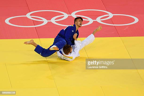 Sebastian Seidl of Germany and Fabio Basile of Italy compete during the Men's 66kg Elimination round of 32 on Day 2 of the Rio 2016 Olympic Games at...