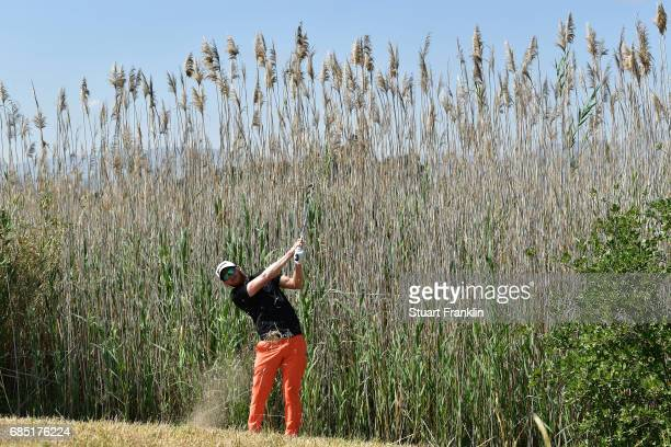 Sebastian Soderberg of Sweden plays a shot on the fourth hole during the second round of The Rocco Forte Open at The Verdura Golf and Spa Resort on...