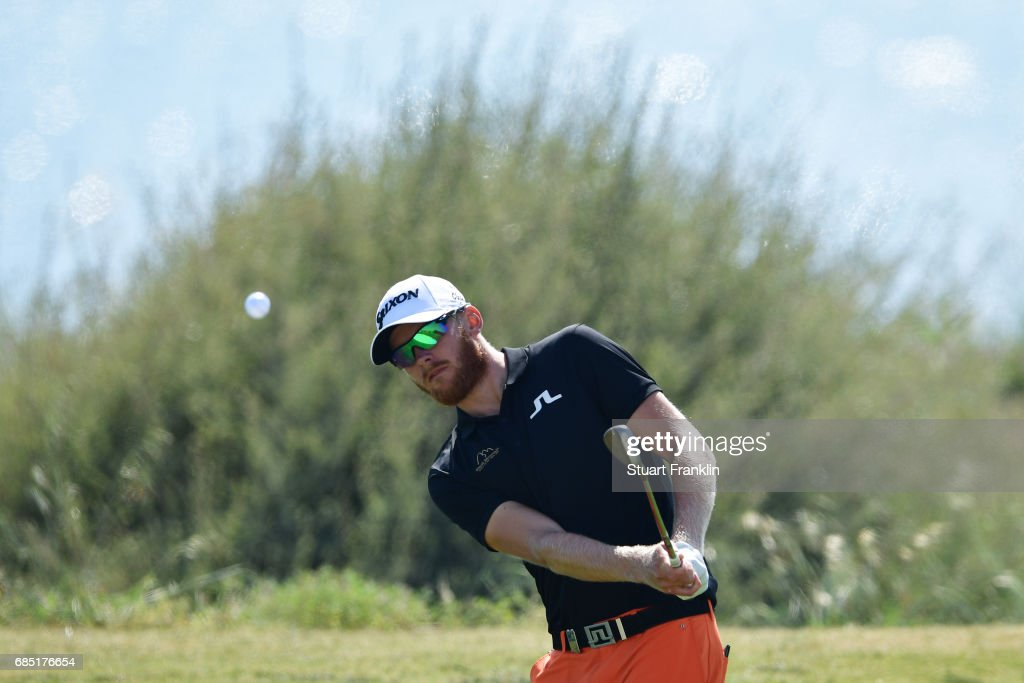 Sebastian Soderberg of Sweden plays a shot on the fourth hole during the second round of The Rocco Forte Open at The Verdura Golf and Spa Resort on May 19, 2017 in Sciacca, Italy.
