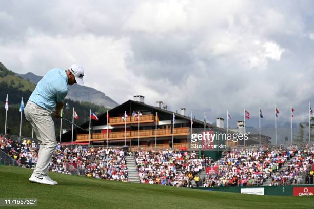 Sebastian Soderberg of Sweden plays an approach shot on the eighteenth during Day Four of the Omega European Masters at Crans Montana Golf Club on...