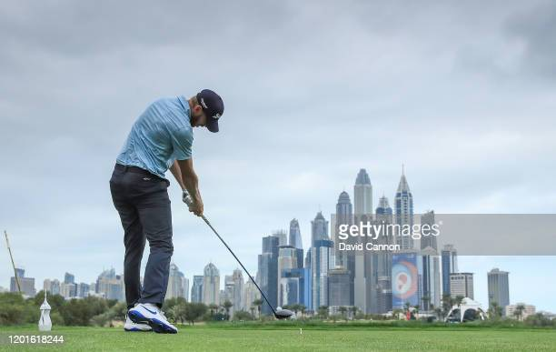 Sebastian Soderberg of Sweden plays his tee shot on the eighth hole during the second round of the Omega Dubai Desert Classic on the Majlis Course at...