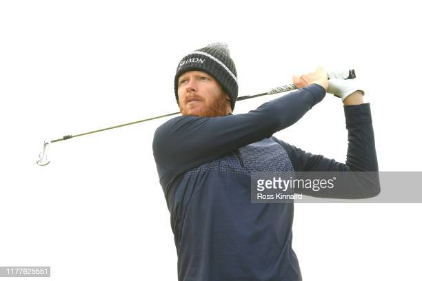 Sebastian Soderberg of Sweden tees off on the 3rd hole during Day three of the Alfred Dunhill Links Championship at Carnoustie Golf Links on...
