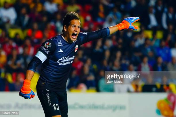 Sebastian Sosa goalkeeper of Morelia reacts during the quarter finals first leg match between Morelia and Toluca as part of the Torneo Clausura 2018...