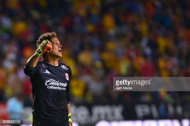 Sebastian Sosa of Morelia celebrates first goal of his team during the 11th round match between Morelia and Veracruz as part of the Torneo Clausura...