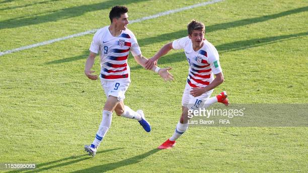 Sebastian Soto of the United States celebrates after scoring his team's second goal with Justin Rennicks during the 2019 FIFA U20 World Cup Round of...