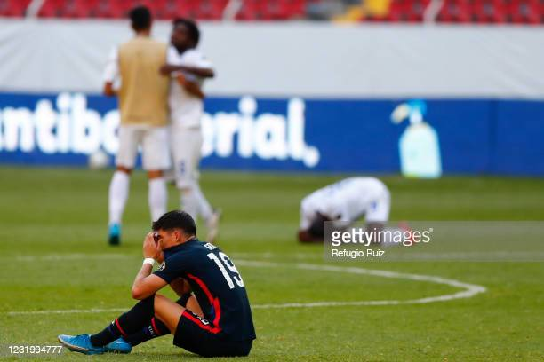 Sebastian Soto of United States reacts after losing the semifinals match between Honduras and USA as part of the 2020 Concacaf Men's Olympic...
