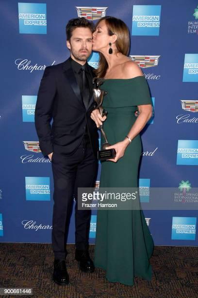 Sebastian Stan and Allison Janney winner of the Spotlight Award at the 29th Annual Palm Springs International Film Festival Awards Gala at Palm...