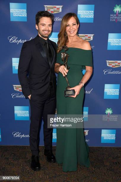 Sebastian Stan and Allison Janney winner of the Spotlight Award attend the 29th Annual Palm Springs International Film Festival Awards Gala at Palm...