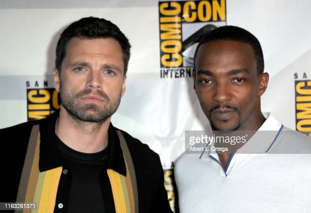 Sebastian Stan and Anthony Mackie attend the Marvel Studios Panel during 2019 ComicCon International at San Diego Convention Center on July 20 2019...