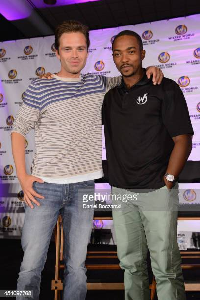 Sebastian Stan and Anthony Mackie attend Wizard World Chicago Comic Con 2014 at Donald E. Stephens Convention Center on August 24, 2014 in Chicago,...
