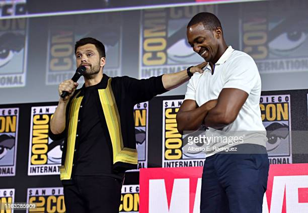 Sebastian Stan and Anthony Mackie of Marvel Studios' 'The Falcon and The Winter Soldier' at the San Diego ComicCon International 2019 Marvel Studios...