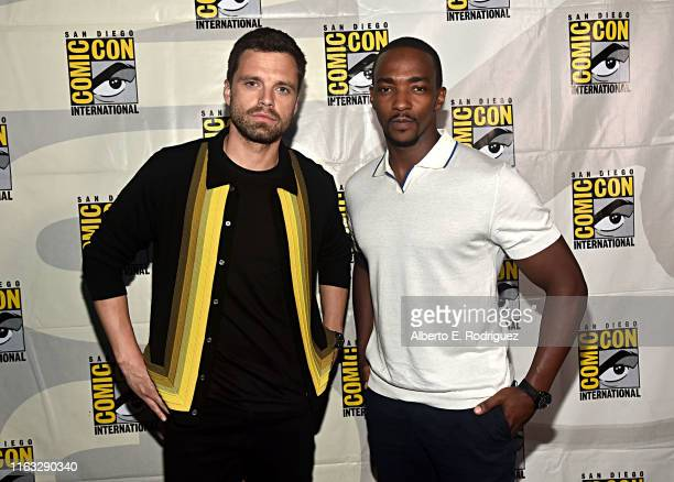 Sebastian Stan and Anthony Mackie of Marvel Studios' 'The Falcon and The Winter Soldier' at the San Diego Comic-Con International 2019 Marvel Studios...