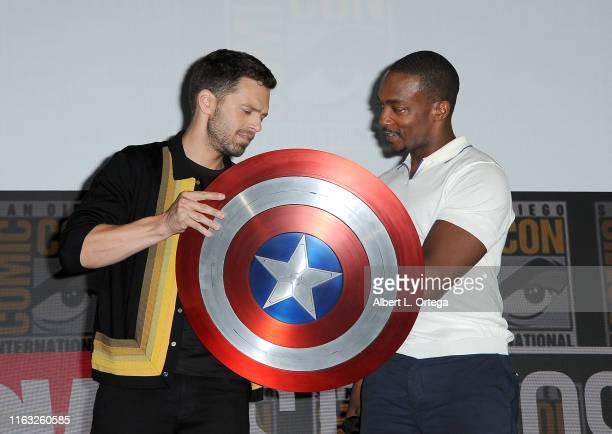 Sebastian Stan and Anthony Mackie speak at the Marvel Studios Panel during 2019 Comic-Con International at San Diego Convention Center on July 20,...