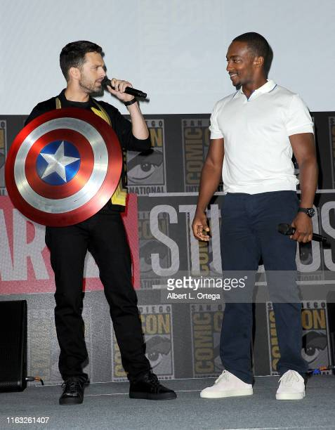 Sebastian Stan and Anthony Mackie speak at the Marvel Studios Panel during 2019 ComicCon International at San Diego Convention Center on July 20 2019...