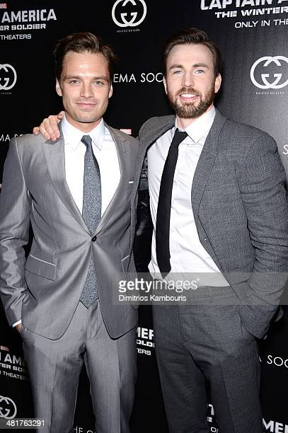 Sebastian Stan and Chris Evans attend The Cinema Society Gucci Guilty screening of Marvel's 'Captain America The Winter Soldier' at Tribeca Grand...