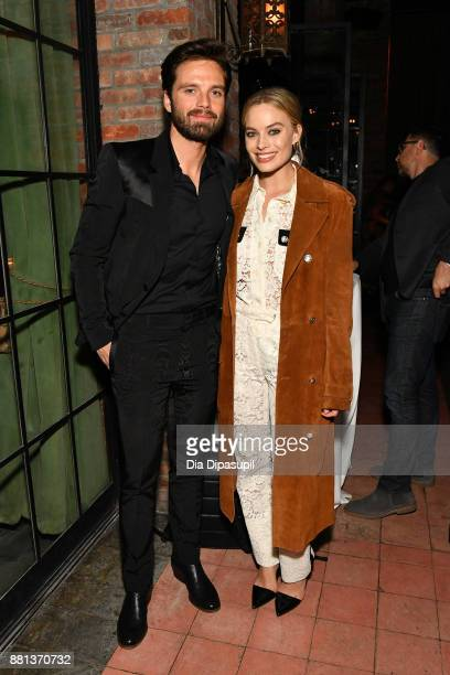 """Sebastian Stan and Margot Robbie attend the """"I, Tonya"""" New York premiere after party on November 28, 2017 in New York City."""