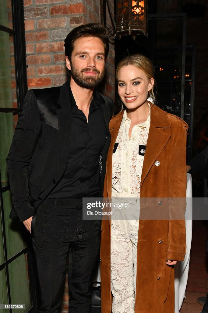 Sebastian Stan (L) and Margot Robbie attend the 'I, Tonya' New York premiere after party on November 28, 2017 in New York City.