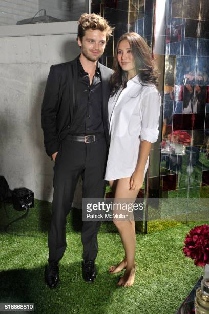 Sebastian Stan and Nadine Campeau attend FERRAGAMO Launches ATTIMO On The Top of The Standard at The Standard on June 30 2010 in New York City