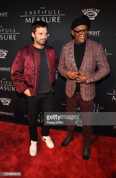 "Sebastian Stan and Samuel L. Jackson attend ""The Last Full Measure"" Atlanta red carpet screening at SCADshow on January 20, 2020 in Atlanta, Georgia."