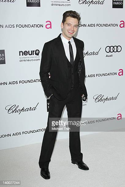 Sebastian Stan arrives at the 20th Annual Elton John AIDS Foundation Academy Awards viewing party held across the street from the Pacific Design...