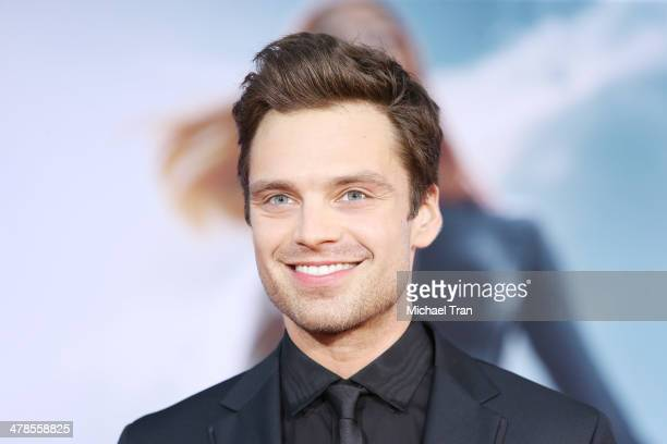 Sebastian Stan arrives at the Los Angeles premiere of 'Captain America The Winter Soldier' held at the El Capitan Theatre on March 13 2014 in...