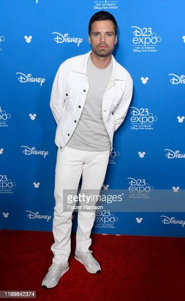 Sebastian Stan attends D23 Disney event at Anaheim Convention Center on August 23 2019 in Anaheim California